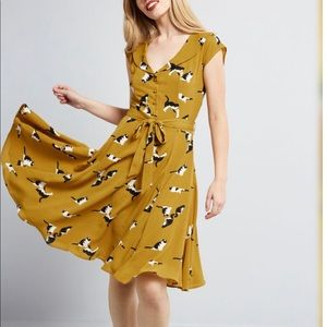 A-line dress, mustard with black and white cats